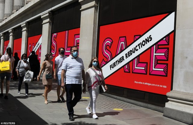 People are seen walking down London's Oxford Street.There is plenty of research showing that the case for muzzles is poor, especially a survey done for the dental profession four years ago, which quietly vanished from the internet after mask opponents began to cite it