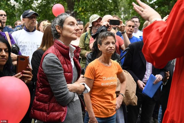 The crowd listened to five guest speakers at the protest in Hyde Park on Sunday afternoon. The rally was organised as a protest against social distancing rules