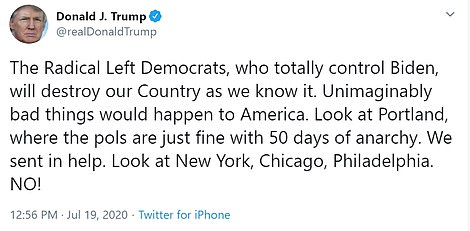 Trump later tweeted that 'Radical Left Democrats' will 'destroy our Country as we know it'