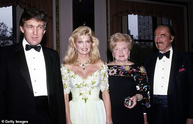 Donald Trump, his ex-wife Ivana Trump and parents Mary and Fred Trump pictured in 1987