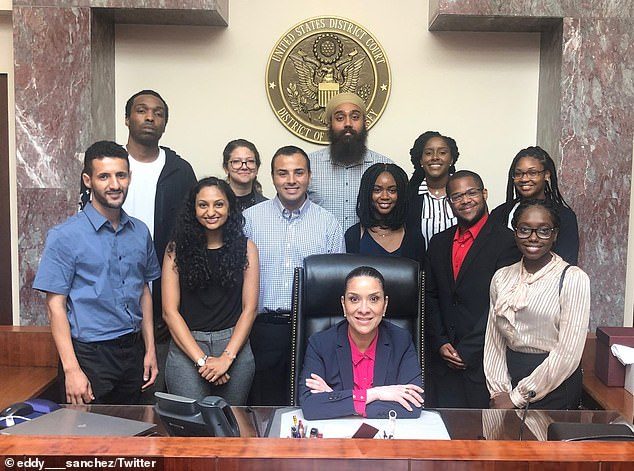 Judge Esther Salas is pictured with students in an August 2019 photo posted to Twitter