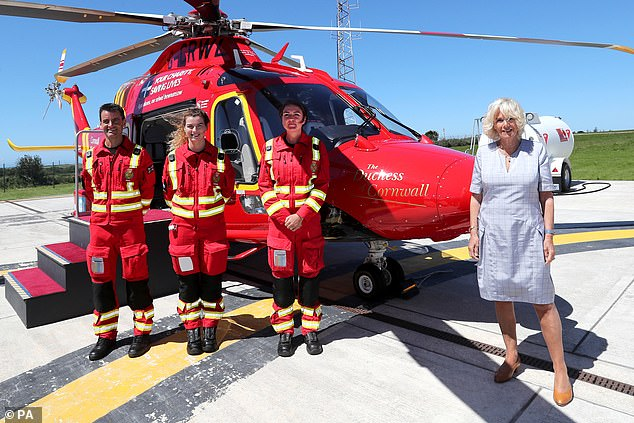 The royal was joined by paramedics as she launched the new Duchess of Cornwall helicopter during her afternoon of engagements