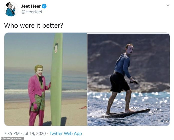 The billionaire's summer look sparked a wave of memes across the internet from Twitter users who dubbed him the 'mime surfer' and suggested he took fashion advice from The Joker, Ms Doubtfire, 'a moon and even a lizard.
