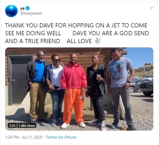 The 43-year-old rapper returned to Twitter on Tuesday to share a video of him and Dave Chappelle in Wyoming - a day after he posted a series of rambling tweets about his wife and her family