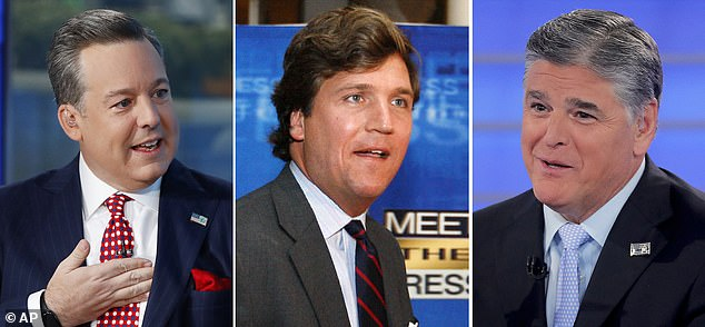 Areu claims Tucker Carlson (center) also propositioned her to come to his hotel room and that Sean Hannity (right) threw $100 on a studio desk demanding that men take her out on a date