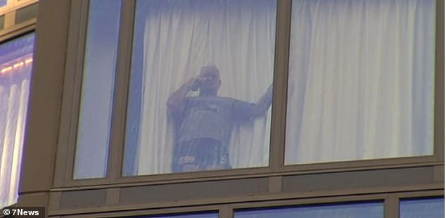 Ms Ferguson said income shouldn't make a difference when it comes to health and safety regulations (pictured: Warren Theobald looks out the window during his stay in hotel quarantine in Brisbane)