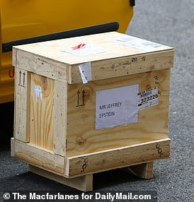 DailyMail.com has exclusively uncovered a photograph of a mysterious box labeled 'Mr. Jeffrey Epstein' being delivered to her apartment in January 2015