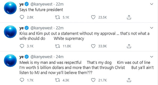 Disturbing: In his rambling Twitter outburst, West said Kim was 'out of line' to meet Meek Mill to talk about 'prison reform' and blasted her mother Kris Jenner as 'Kris Jong-Un' while accusing the pair of 'white supremacy'