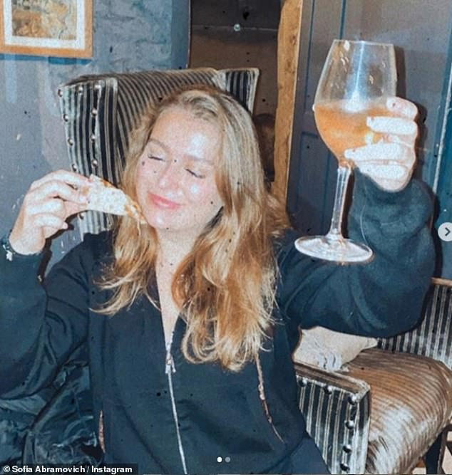 Royal Holloway graduate Sofia, pictured enjoying pizza on the King's Road, regularly shares envy-inducing snaps on social media, which reflect her love of horses, champagne and exotic holidays.