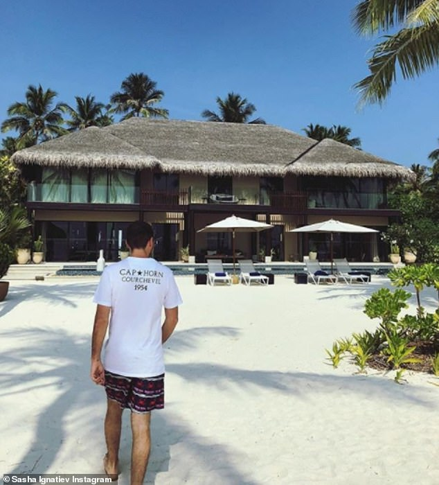 Sasha also enjoys an array of luxury holidays, posting a snap as he relaxed in a private beach front villa on the exclusive Velaa Private Island in the Maldives this year