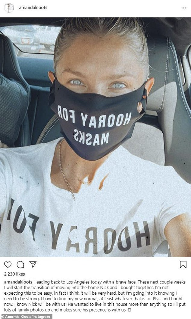 New beginning: Amanda Kloots showed off safe mask wearing while announcing she was heading back to LA on Friday. She planned to move into the house she bought with her late husband Nick Cordero