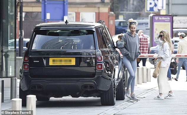 New ride: The TOWIE star was joined by her Love Island pal Amber Davies and later took her for a drive in the Range Rover