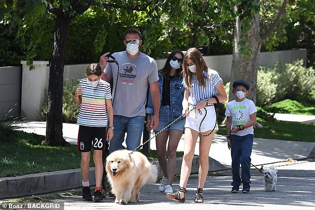 All together now!The 47-year-old Oscar winner has been keeping his circle small these days, splitting time with his new girlfriend and the three children he shares with ex Jen Garner (Ben and his brood pictured with Ana in May)