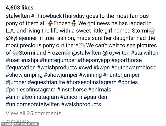 Breeder Stal Wilten tagged Kyle in his post.Kaley Cuoco, Jessica Springsteen and Jennifer Gates are also said to have purchased ponies from the celebrity breeder