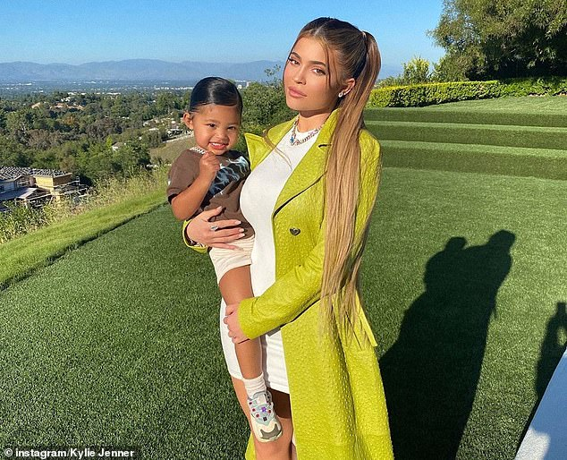 Kylie, pictured with her daughter Stormi, is believed to have spent $200,000 on the pony and an extra $7,000 to $10,000 in flying Frozen the Atlantix to her Calabasas home