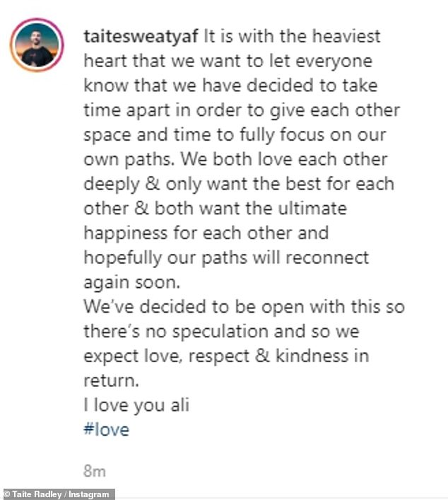 So sad: Ali and Taite shared near identical statements underneath selfies together and said they were making the shock announcement with 'the heaviest heart'
