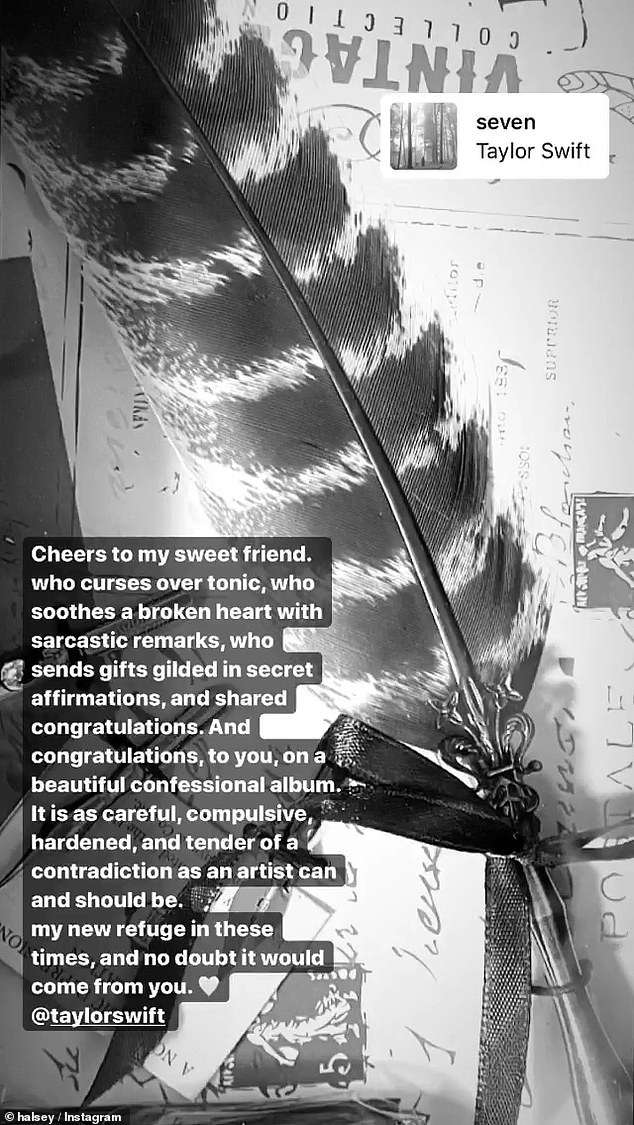 Enamored:Fellow singer Halsey had nothing but love and admiration for Swift as she took to Instagram to remark on the 'beautiful confessional album' that is Folklore