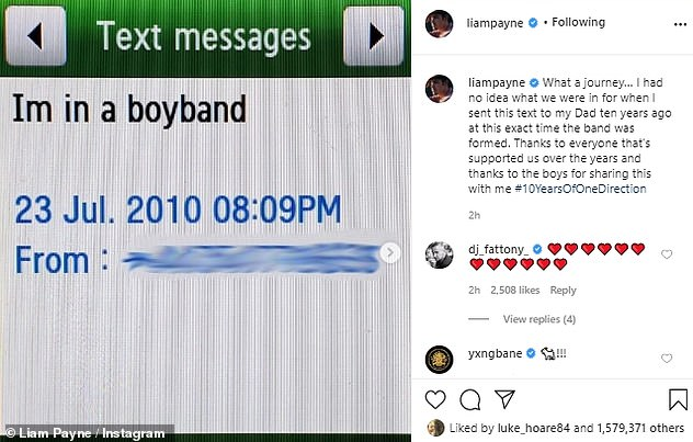 Memories: Earlier this week, Liam marked One Direction's 10th anniversary by sharing the text he sent to his father the day the group was formed