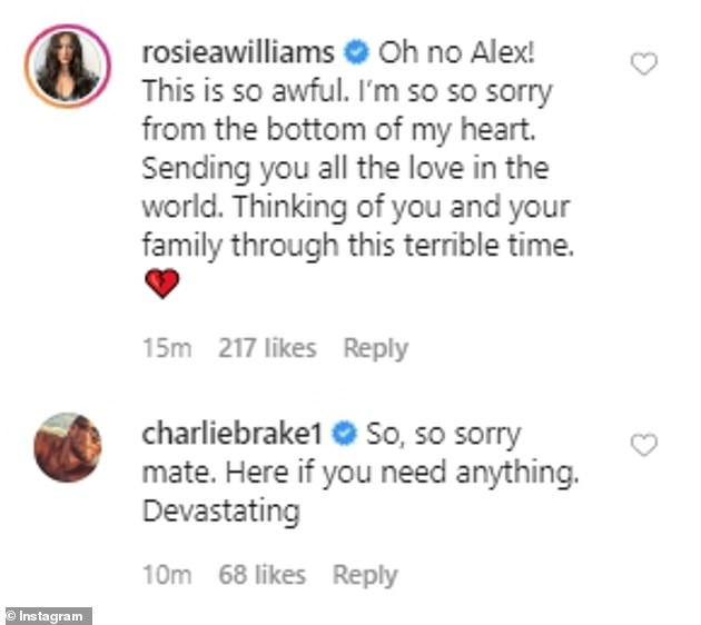 Sympathies:Many of Alex's Love Island co-stars rushed to pay tribute to his late brother in the comments of his post