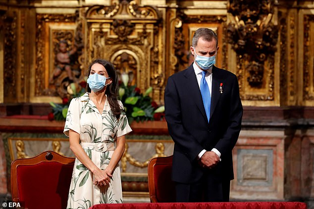 King Felipe VI and Queen Letizia of Spain have been travelling around the country to better understand the impact of the virus. Picturedat a mass to mark the Day of Galicia at the church of San Martino Pinario in Santiago de Compostela, Galicia