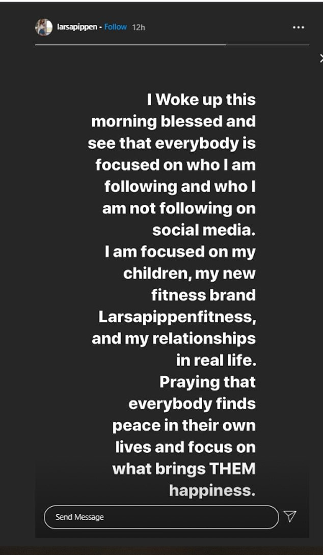 Having her say: On Wednesday, Larsa obliquely addressed the unfollowing and Kanye's tweet with a text post in her Instagram Stories