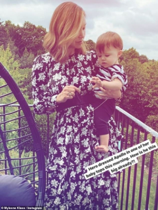 Adorable: Earlier on Friday, Myleene shared a sweet snap as she cuddled her baby Apollo, after revealing he'd finally taken his first steps