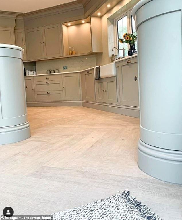 Very smart: The whole room is pulled together by herringbone style luxury vinyl tile flooring