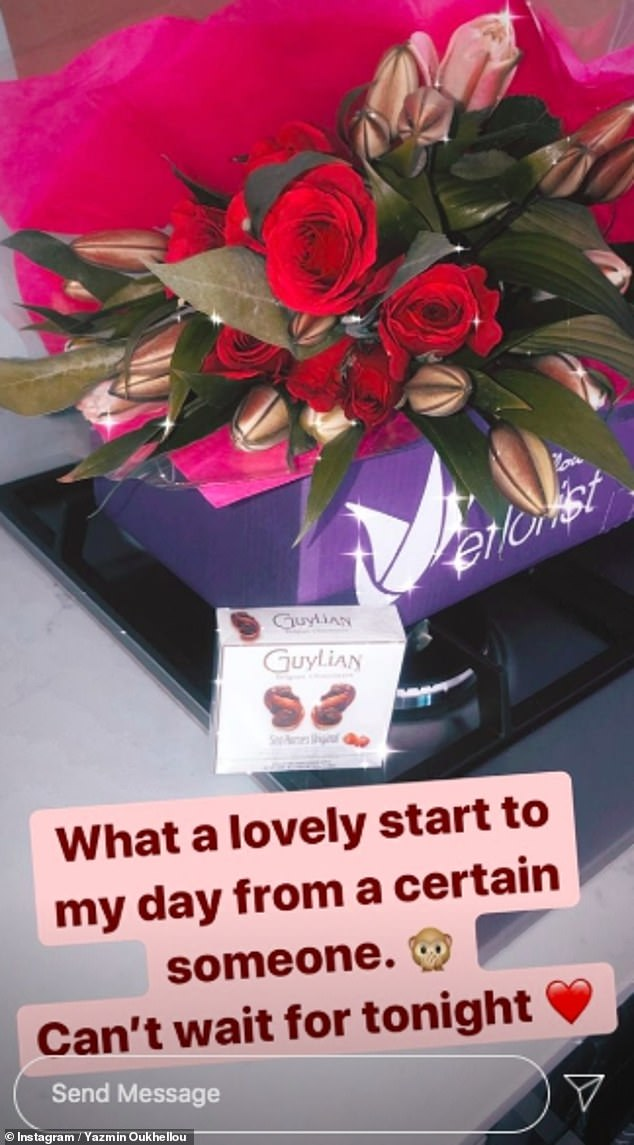 Dropping hints? Yazmin shared that she was sent a beautiful bouquet of roses by a 'certain someone' earlier on Saturday