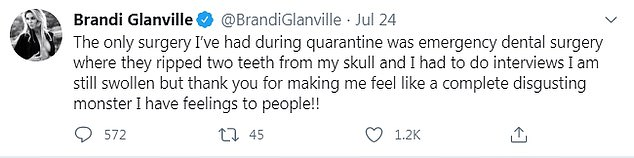 Ouch! Brandi also said she'd had 'emergency dental surgery' and was still swollen at the time from having two teeth pulled