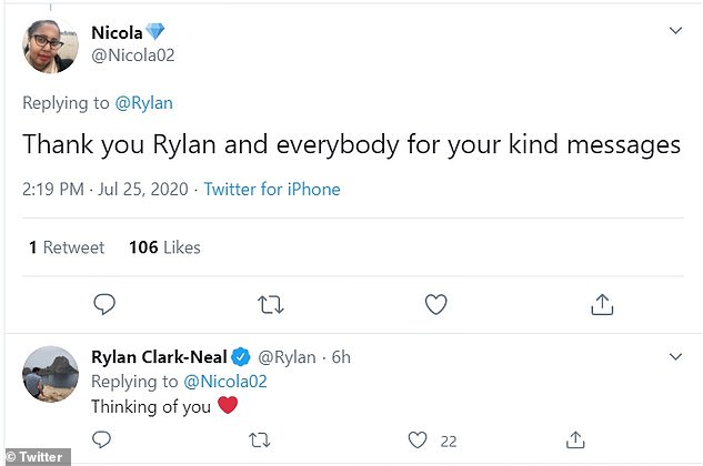 Grateful: Under Rylan's tweet, Karen's sister Nicola responded by thanking him and his fans for their kind messages of support.