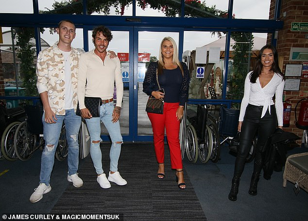 All together:Also seen at the event held at Altons Garden Centre was host Bobby Norris and TOWIE's Saffron Lempriere and Clelia Theodorou