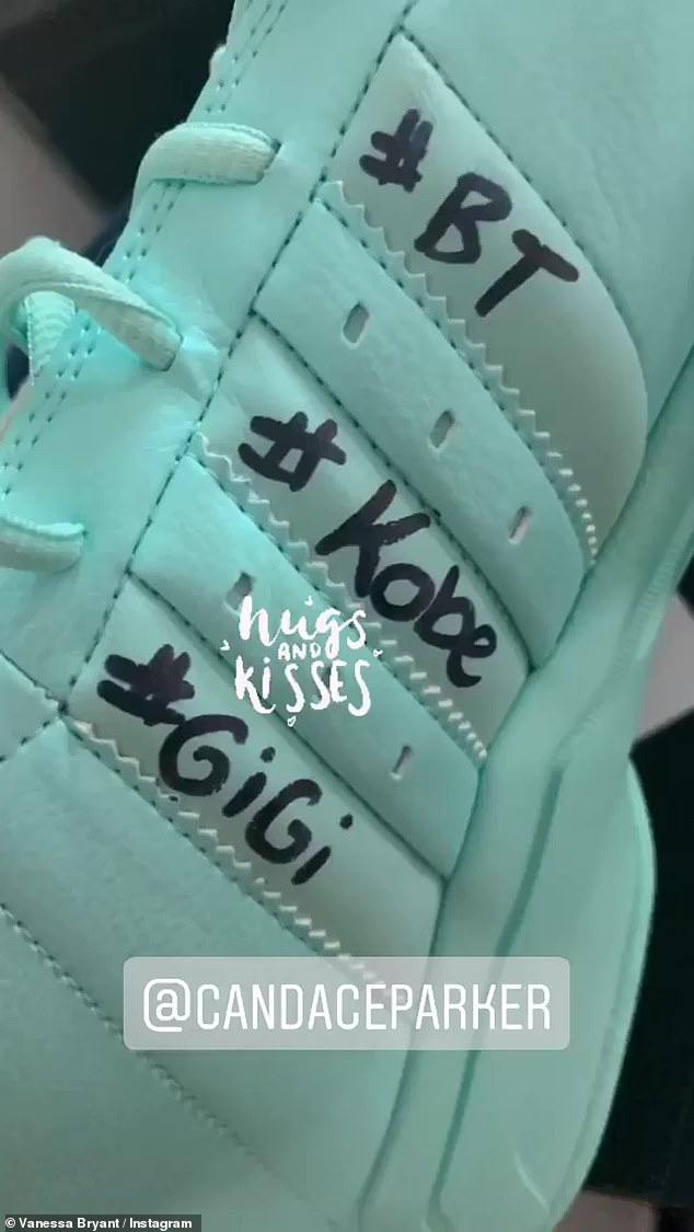 Always on her mind:On Saturday, Kobe's wife Vanessa uploaded a photo of her sneaker, which had '#KOBE' and '#GIGI' written on it in black ink.
