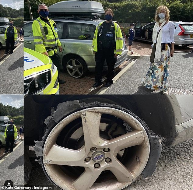 Terrifying! Kate Garraway, 53, has been left shaken after a tyre on her car blew out on the motorway, during her first family trip without husband Derek Draper, 52