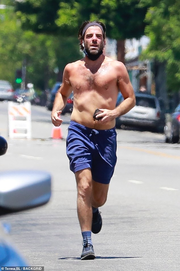 Staying in shape: Actor Zachary Quinto, 43, went shirtless for a run along the streets in the Los Feliz neighborhood of Los Angeles on Sunday