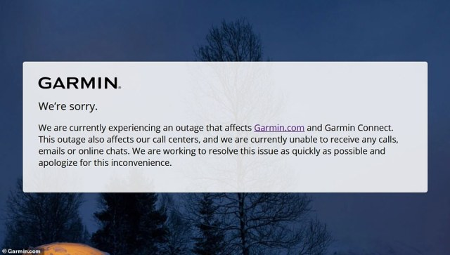 Smartwatch maker Garmin is suffering widespread outages after it was reportedly targeted in a ransomware attack. A notification about the update is seen on the company's website