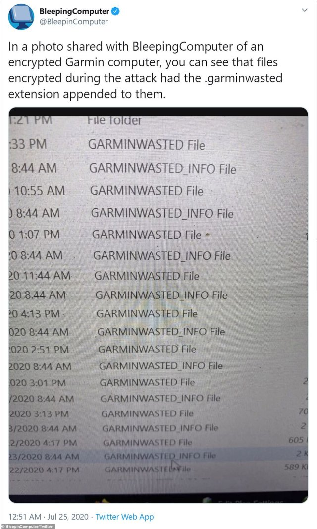 Files shared from a Garmin employee show how a ransomeware file had been attached to each one giving the user details of what to do next in order to retrieve their data