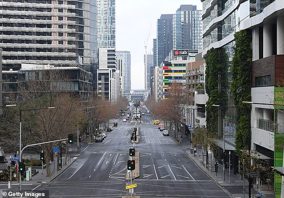 Empty streets are seen in the heart of Melbourne on Monday