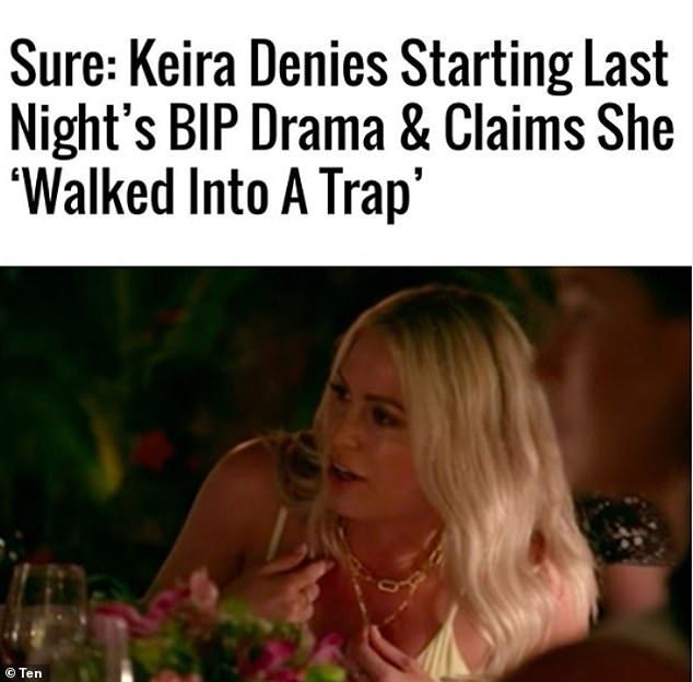 'Sure: Keira denies starting last night's BIP drama': Online publication Pedestrian.TV published Keira's radio denial with a sarcastic headline insinuating they didn't entirely believe her