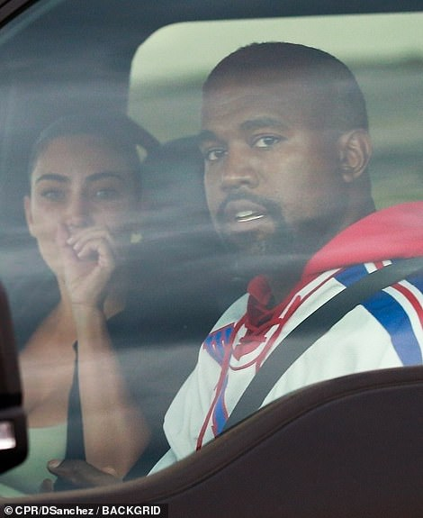 Kim was seen turning away from Kanye