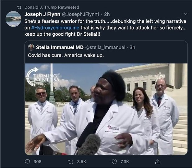 Trump in front of the US Capitol on Friday, Dr.  Stella Emmanuel also retweeted two videos in which others were describing themselves as 'America's Frontline Doctors'.  They claimed that the anti-malarial drug hydroxychloroquine is effective in the treatment of COVID-19, despite other medical research.