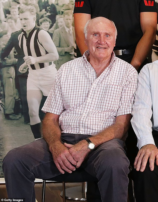 Waters is pictured in 2014. He was an All-Australian selection in 1969 and inducted into the Collingwood Hall of Fame in 2010