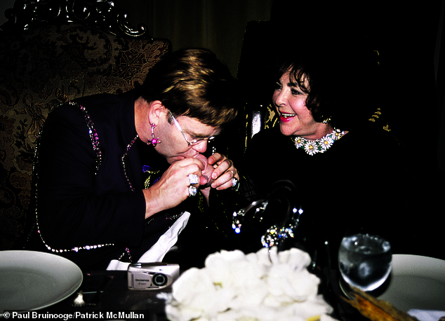 Elton John and Elizabeth Taylor at a surprise birthday party for John at the hotel in 2000