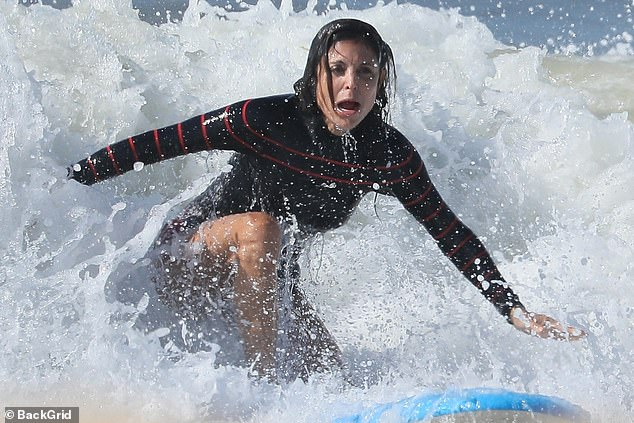 Sink or swim: Bethenny wasn't afraid of the ocean as she paddled out