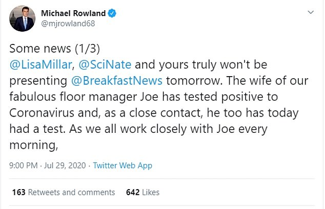 Each of the presenters shared the news on Twitter, with an assurance the impacted staff member Joe Sumic and his wife Laura are in good health
