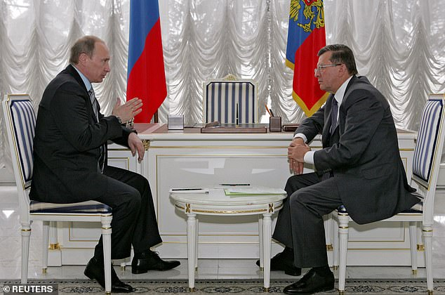 In September 2007, Putin announced he was appointing as prime minister Viktor Zubkov. Above, Putin and Prime Minister Viktor Zubkov talk before Putin's departure to Tripoli at Vnukovo II airport in Moscow April 16, 2008