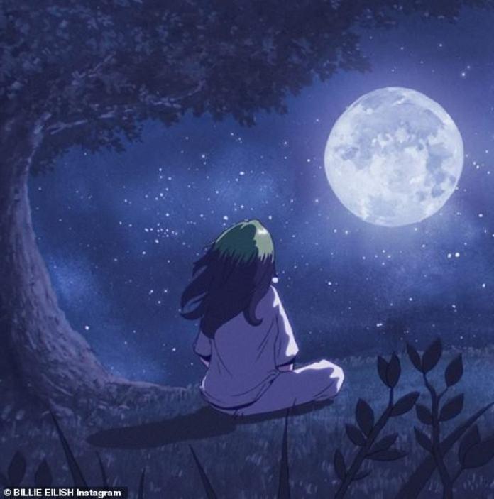 Niño de la luna: Eilish previamente promovió la canción el martes, compartiendo la portada, una ilustración de una niña sentada debajo de un árbol y mirando a la luna