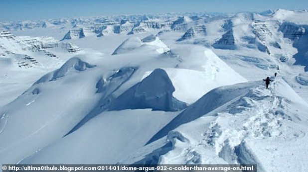 Dome A, or 'Argus' - located in the center of East Antarctica at an altitude of 13,428 feet above the sea - has temperatures as low as -144 ° F.  Picture, peak of Dom A.