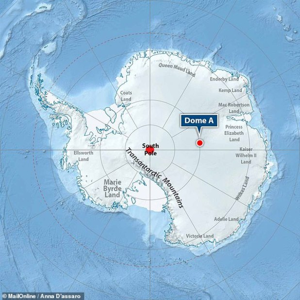Dome A, or 'Argus' - located in the center of East Antarctica at an altitude of 13,428 feet above sea level - experiences temperatures as low as -144 ° F.