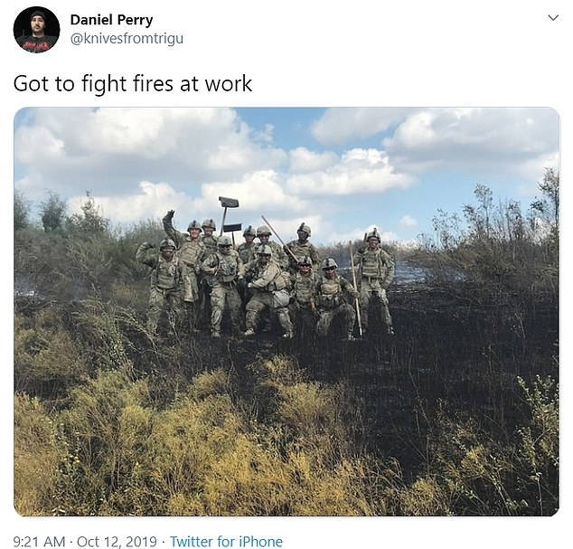 Perry, who served multiple tours in the Middle East, posted a picture of himself with other servicemen helping fight a bushfire last October.Perry is currently posted to Fort Hood, the Army's premier installation to train and deploy heavy forces