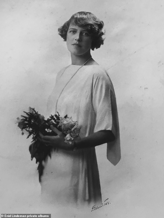 Enid on the day of her wedding to first husband Roderick Cameron, 1913